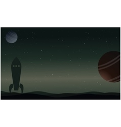 Rocket on outer space with planet landscape vector