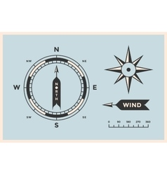 Rose wind and compass set vintage arrows vector