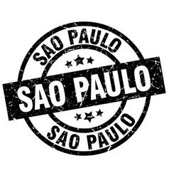 Sao paulo black round grunge stamp vector