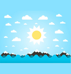 sea waves with sun flat design cartoon vector image
