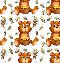 Seamless bees flying and bear with honey vector image