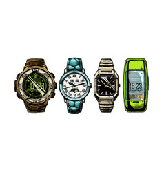 set mens wristwatches vector image