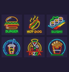 Set of fast food neon icons vector