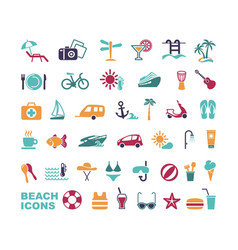 Set of flat beach icons vector