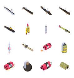 Set of military equipment isometric icons vector