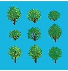 Set of Pixel Trees vector image