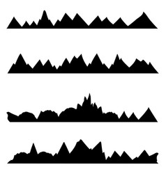 set silhouettes chains mountains vector image