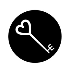 Silhouette key shaped heart vector