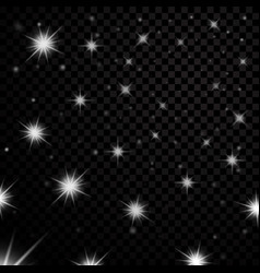 silver light stars on black transparent background vector image