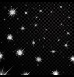 Silver light stars on black transparent background vector