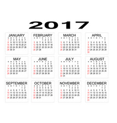 simple 2017 year calendar on white background vector image