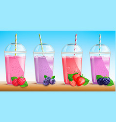 smothie set with fresh berries vector image
