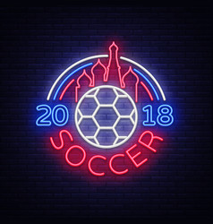 soccer 2018 neon sign football vector image