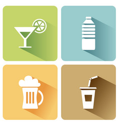 summer drinks icons with shadow on a white vector image