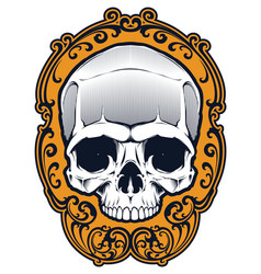 Tattoo skull in frame vector
