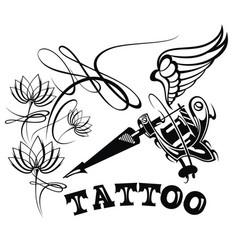 Tattoo studio logo template vector