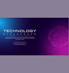 technology banner line link world sphere pink blu vector image