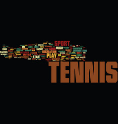 Tennis fun for kids text background word cloud vector