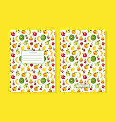 textbook cover decorated with funny fruit vector image