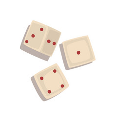 Three dice cubes board game element vector