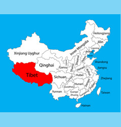 Tibet province map china map vector