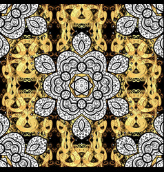traditional classic golden pattern with white vector image