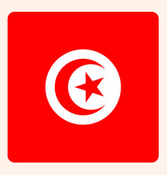 tunisia square flag button social media vector image