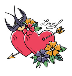 two hearts pierced by arrow old school tattoo vector image