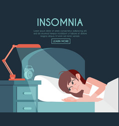 Unhappy woman with insomnia in bed vector