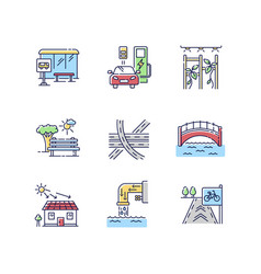 Urban structure rgb color icons set vector