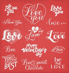 Valentines Day Typography Design Elements vector image