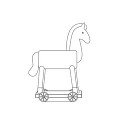 vintage rocking horse coloring page vector image