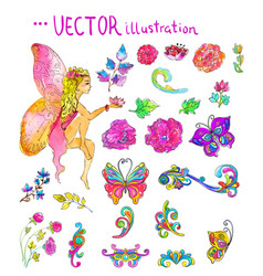 watercolor collection of color flowers and vector image