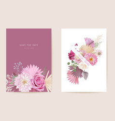 Watercolor rose pampas grass dahlia floral vector