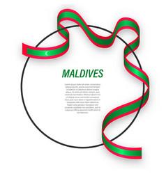 Waving ribbon flag maldives on circle frame vector