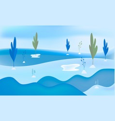 winter snow landscape background flat vector image