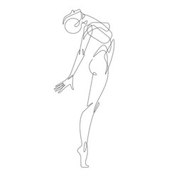 woman figure pose continuous one line illus vector image