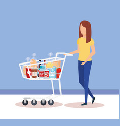 woman with shopping cart and products vector image