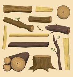 Wooden materials tree log cabin isolated vector