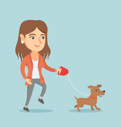 young caucasian woman walking with her dog vector image vector image