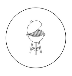 barbecue icon in outline style isolated on white vector image