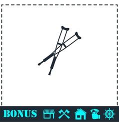 Crutches icon flat vector image
