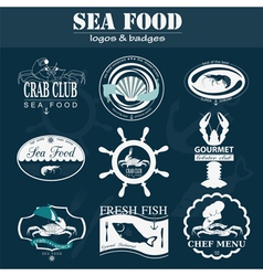 Set of vintage sea food logos logo templates and vector image vector image