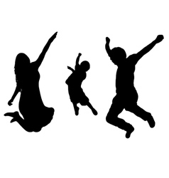 jumping family silhouette vector image