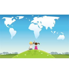 Kids looking at clouds vector image vector image