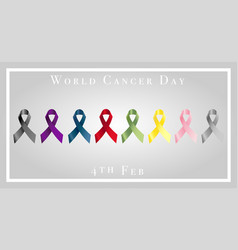 world cancer day with ribbons vector image vector image