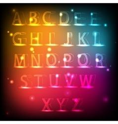 Luminous alphabet Neon English font vector image