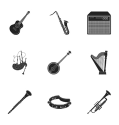 Musical instruments set icons in black style Big vector image vector image