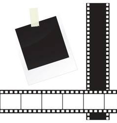 Photo frame sticker with tape and film strip frame vector image