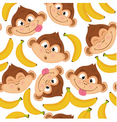 seamless pattern with monkey face vector image